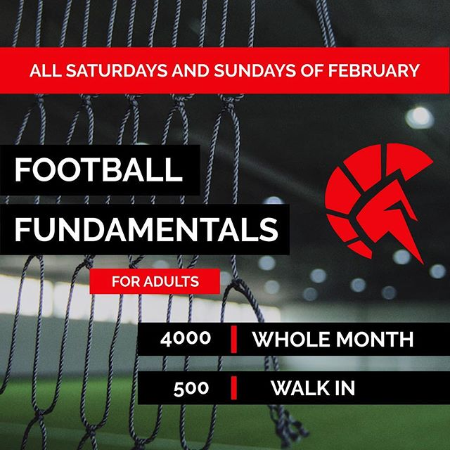 Sign up!!! Football Fundamentals for Adults ! Learn the basics of Football in just ONE MONTH. Meet new people and enjoy the beautiful game of Football. All weekends of February, 2-4pm in SPARTA. #thisisspartaph #spartanresolution