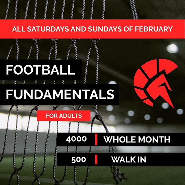 Finally!!!! Football Fundamentals for Adults first session happens today 2-4pm!!! Grab your football gear and make your way to the best indoor field in the Philippines️️ Call 09777634402 or message us on FB for questions or reservations. See you at 126 Pioneer Street Mandaluyong 🏻