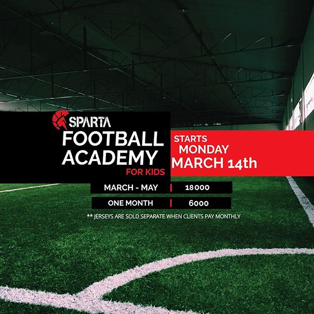 SUMMER IS HERE!!!!! Sparta Football Academy for Kids launches March 14, Monday. 10am-12nn️😎 All PARENTS interested in enrolling your kids in a great summer program that will teach them values of hard work, team work, patience and excellence, check us out next week️️ Call or text 09777634402/6553799 if you have questions or if you want to reserve early! ! ️🏻 Our address is 126 Pioneer Street Mandaluyong.#spartanresolution #thisisspartaph #soccer #football #spartafootballacademy
