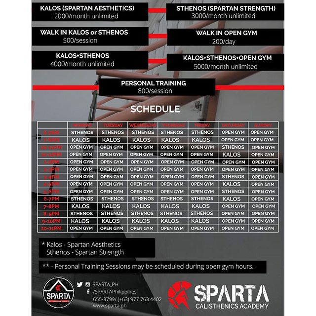 For all those who don't quite know our schedule and rates for the Sparta Calisthenics Academy, feel free to save this one 🏻#thisisspartaph #ripped #toned #fitness #calisthenics #bodyweight
