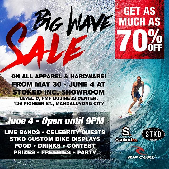 @stokedinc is having a HUGE sale next Saturday, June 4th! If you love shirts, board shorts, bikinis, backpacks Etc. Make sure you come by and spread the word!!!🏻️😎🕶️🏼 #surf #sand #sale #bikini