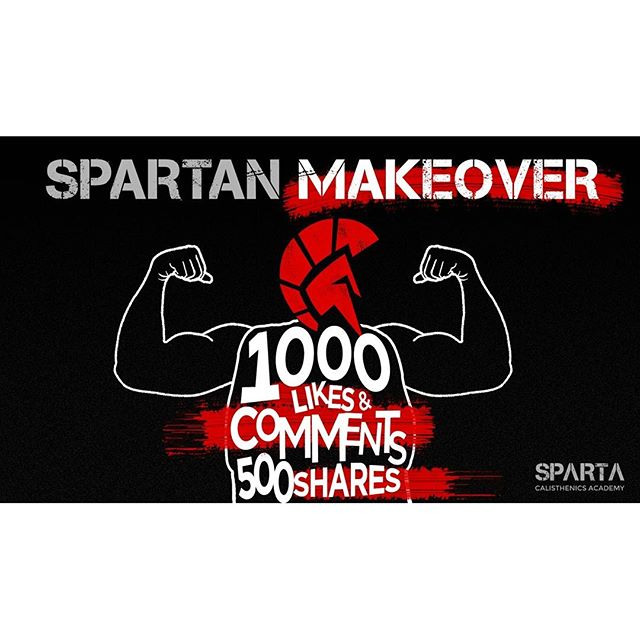 Who wants a Spartan Makeover? How about a ONE YEAR FREE PASS to all our Calisthenics classes? First 2 persons to get 1000 likes, 1000 comments and 500 shares on a video telling us why you want to get fit with calisthenics gets 1 FULL YEAR of training in our Kalos and Sthenos group classes and a total body and lifestyle makeover!126 Pioneer Street Mandaluyong For inquiries you may message us on FB or call 6553799/09777634402  #calisthenics #ThisIsSpartaPH #spartacalisthenicsacademy #webreedchampions #Kalos #Sthenos